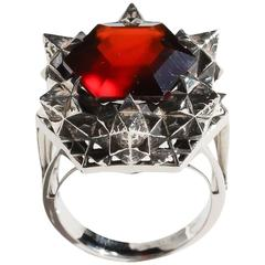 Thoscene Hessonite Garnet Silver Statement Ring