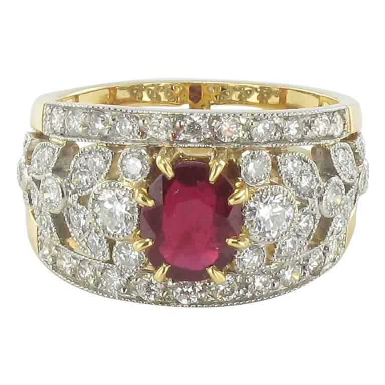 French Ruby Diamond Gold Platinum Band Ring  1