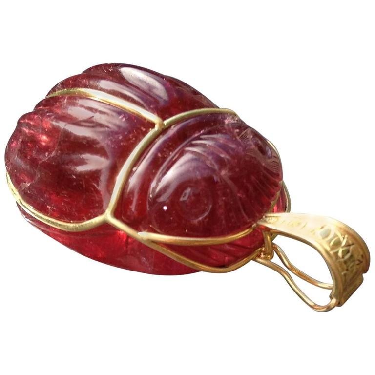 "Rubellite 147.6 ct. with Gold Bale ""Scarab Beetle Pendant"" 1"