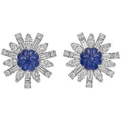 "Raymond C. Yard Carved Sapphire Diamond Platinum ""Sunburst"" Earrings"