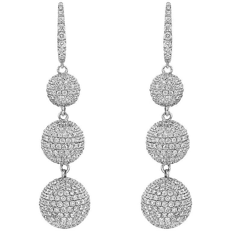Pavé Diamond Gold Ball Drop Earrings For