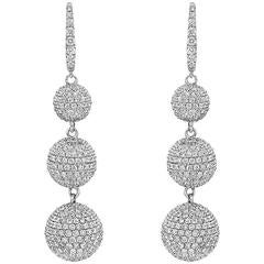 Pavé Diamond Gold Ball Drop Earrings