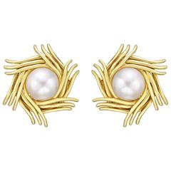 Tiffany & Co. ​Schlumberger Yellow Gold and Mabe Pearl Earclips