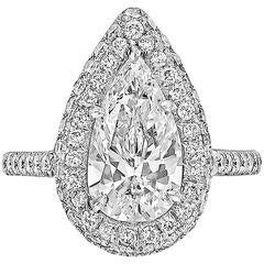 Pear Brilliant-Cut Diamond Platinum Ring