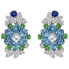 Raymond C. Yard Multicolored Gemstone Diamond Platinum Cluster Earrings