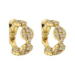 "Cartier Diamond Gold ""Himalia"" Hoop Earrings"