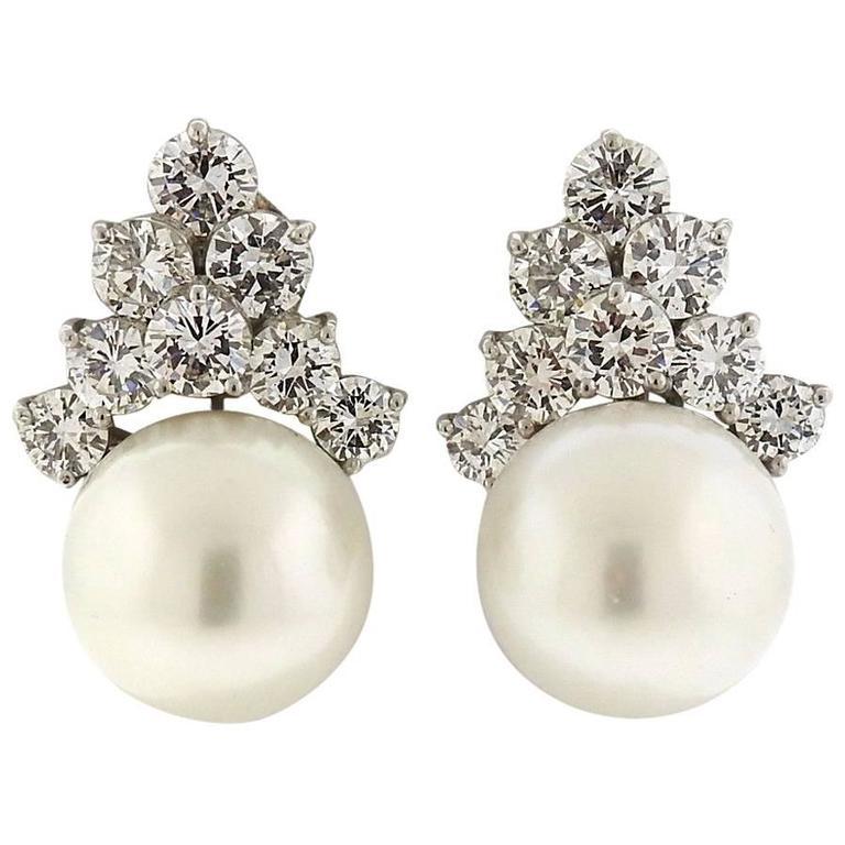 Gorgeous South Sea Pearl Diamond Platinum Earrings