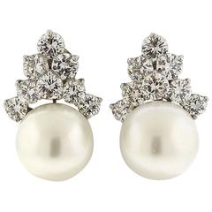 Gorgeous South Sea Pearl Diamond Platinum Earrings
