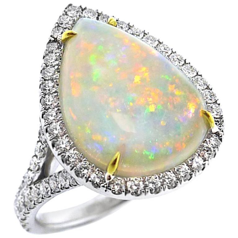 Large Opal Diamond Gold Ring