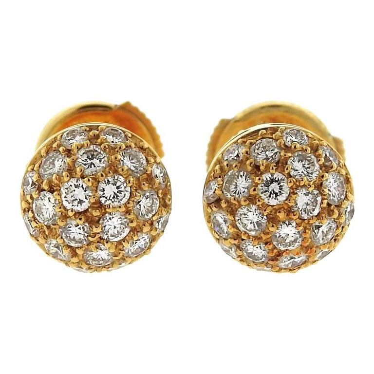 Cartier Pave Diamond Gold Stud Earrings For