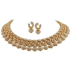 Bulgari Diamond Demi-Parure Necklace and Earclip Suite