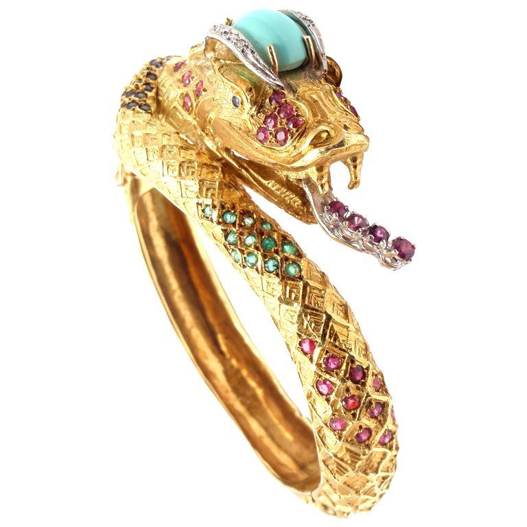 Turquoise Emerald Diamond Ruby Gold Dragon Snake Bangle Bracelet