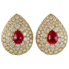 Graff Ruby & Diamond Earclips
