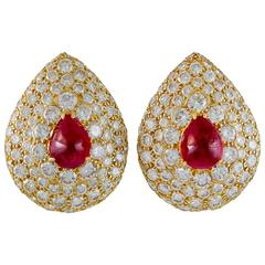 Graff  Ruby Diamond Gold Earclips