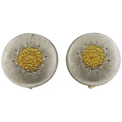 Buccellati Geminato Silver Gold Button Earrings