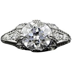 Art Deco 1.88 Carat GIA Cert Diamond Platinum Engagement Ring