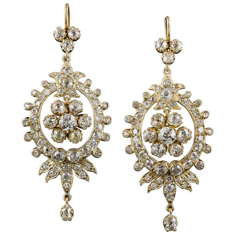 Victorian Diamond Gold Chandelier Earrings 1