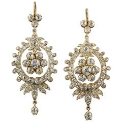 Victorian Diamond Gold Chandelier Earrings