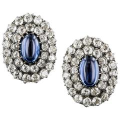 1890s Antique Cabochon Sapphire Diamond Earrings