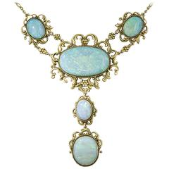 Late Victorian Opal Gold Necklace