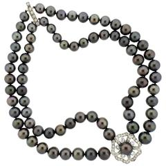 Mikimoto Two Strand Tahitian Pearl Diamond Gold Platinum Necklace