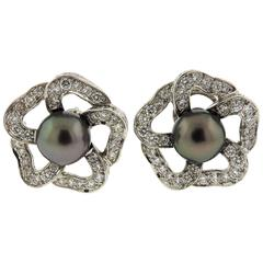 Mikimoto Tahitian Pearl Diamond Platinum Flower Earrings