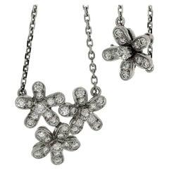 Van Cleef & Arpels Socrate Diamond Gold 3-Flower Pendant Necklace