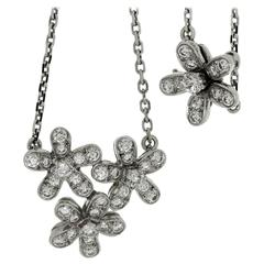 Van Cleef & Arpels Socrate Diamond Gold 3-Flower Pendant Necklace