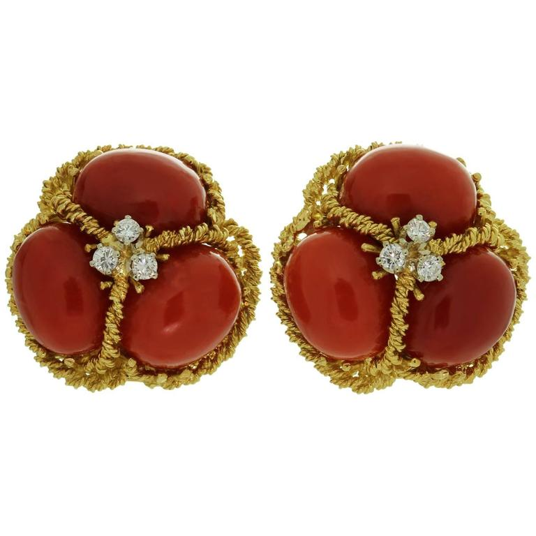 Italian Natural Oxblood Coral Diamond Gold Earrings