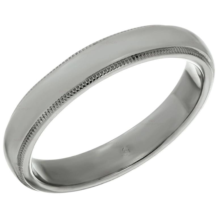 Tiffany & Co. Platinum Milgrain Men's Wedding Band Ring  For Sale