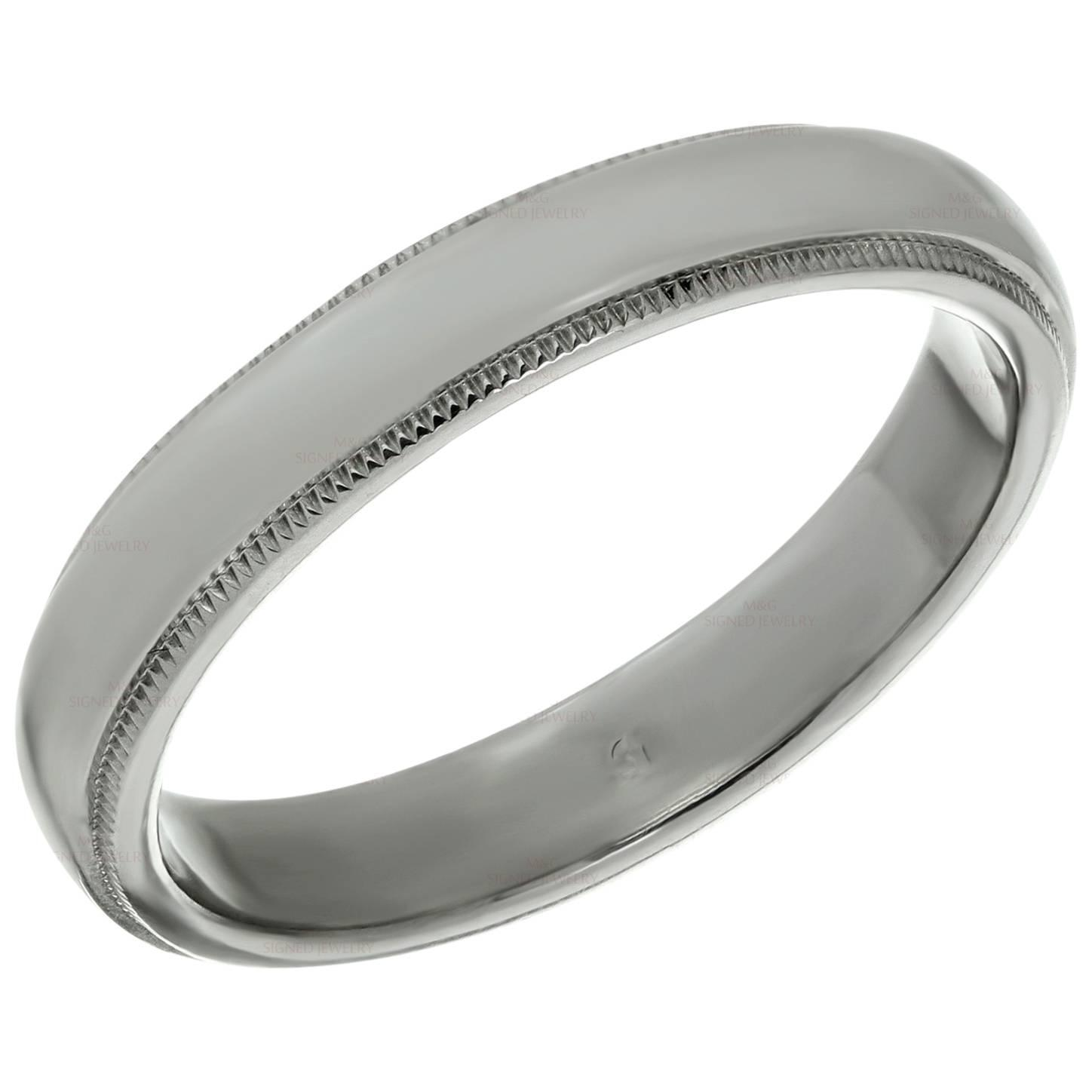 Tiffany and Co Platinum Milgrain Men s Wedding Band Ring For Sale