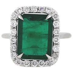5.93 Carat Emerald Diamonds Platinum Ring