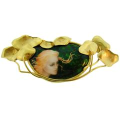 Art Nouveau Revival Miniature Painted Enamel Gold Pin Brooch Clip