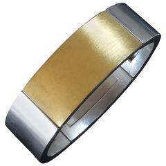 2000s Monika Killinger Modern Flexible Silver Gold Bangle Bracelet