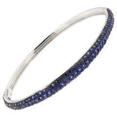 Jona Blue Sapphire Pavé 18K White Gold Bangle Bracelet