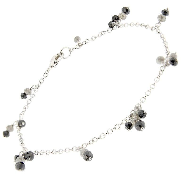 Jona Black and Ice Diamond 18 Karat White Gold Bracelet For Sale