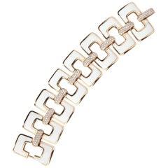 White Ceramic Diamonds Gold Bracelet
