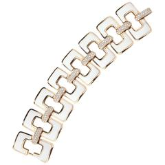 White Ceramic Diamonds Gold Bracelet
