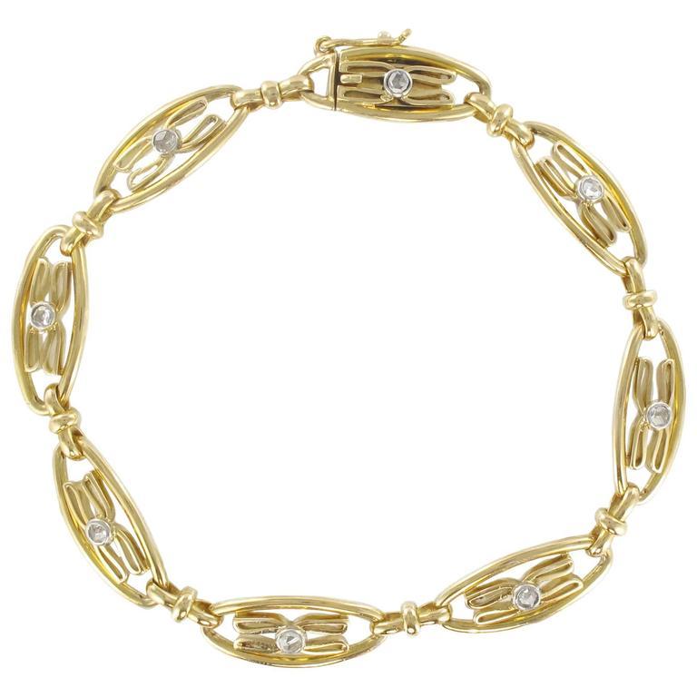 1900s French Rose Cut Diamond Gold Bracelet