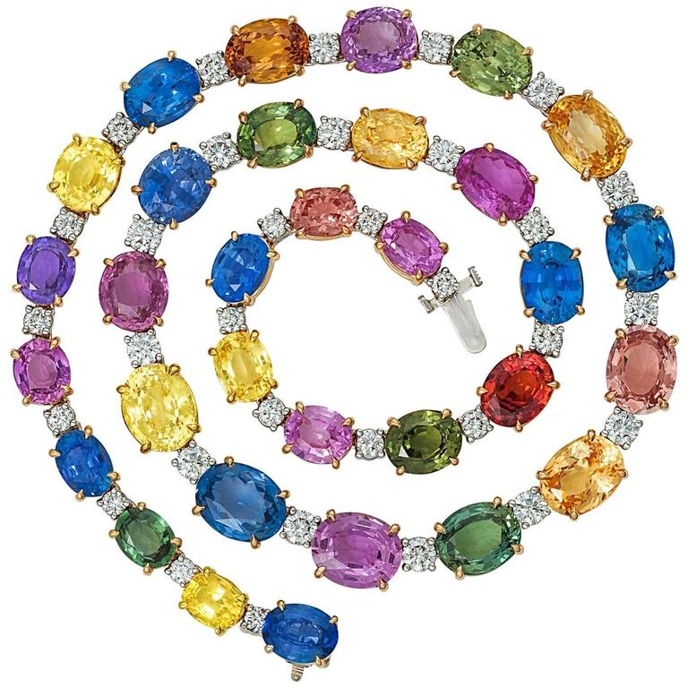 Extraordinary Colored Sapphire Diamond Gold Platinum Necklace 1