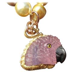 Pink Tourmaline Tanzanite Onyx Gold Polly the Parrot Pendant
