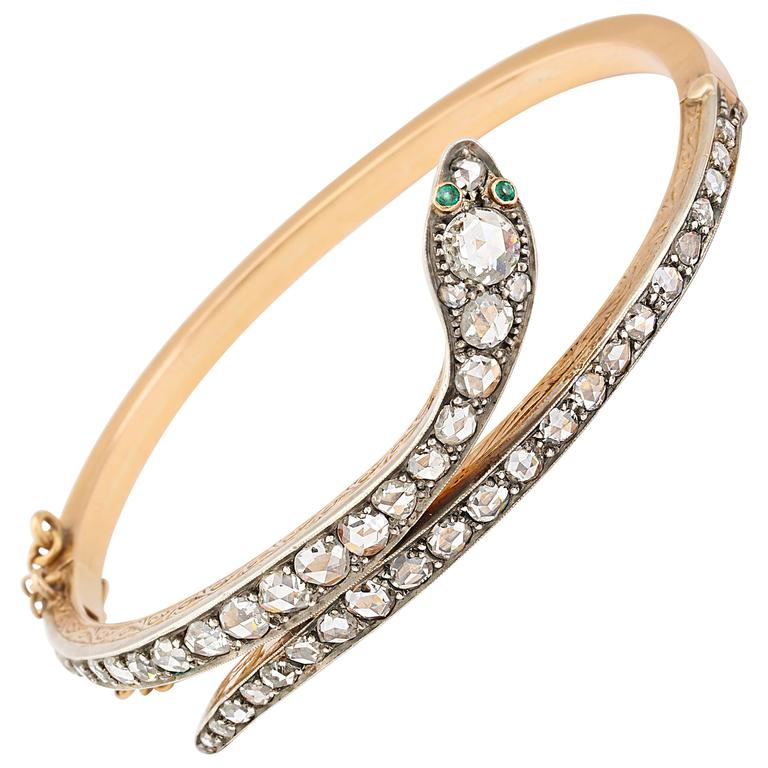 Victorian Emerald Eyed Diamond Snake Bracelet