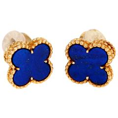 Van Cleef Arpels Vintage Alhambra Lapis Gold Earrings