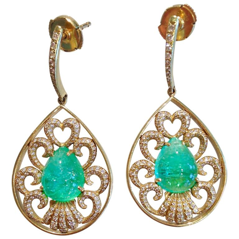 Heart Of The Sea Paraiba Tourmaline Diamond Gold Earrings
