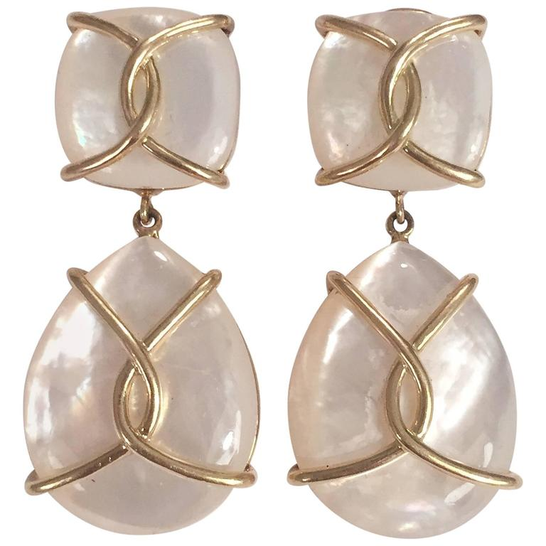 Mother Of Pearl Drop Earrings with Twisted Gold Detail