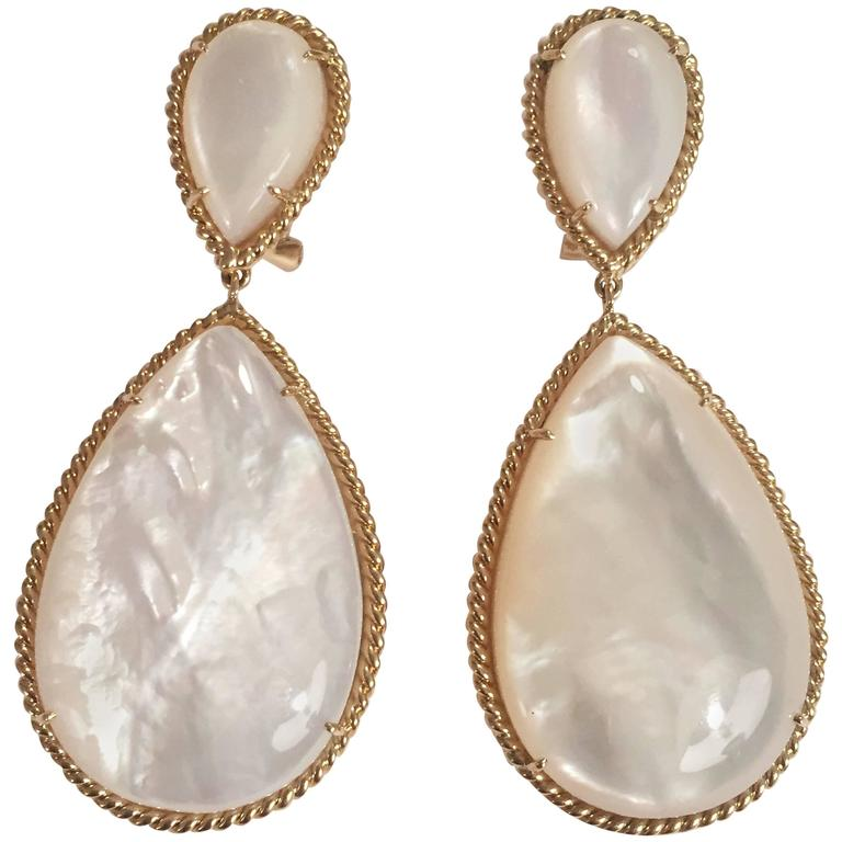 Mother-of-Pearl Drop Earrings with Elegant Rope Twist Border