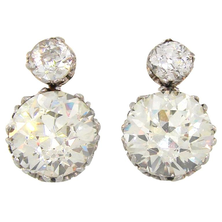 1900s Diamond Silver Gold Two Stone Stud Earrings For