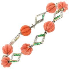 Art Deco Coral Emerald Diamond Platinum Bracelet