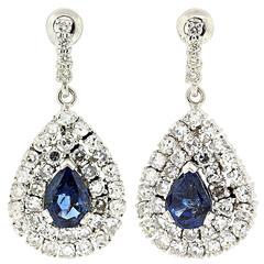 Sapphire Diamond Gold Drop Earrings