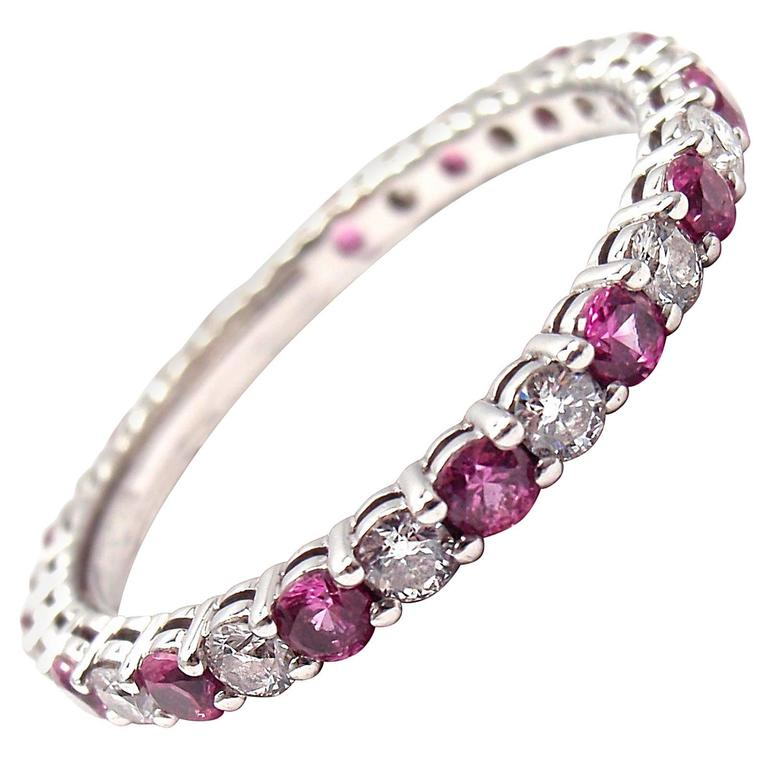 Tiffany & Co. Diamond Pink Sapphire Shared Setting Platinum Band Ring For Sale